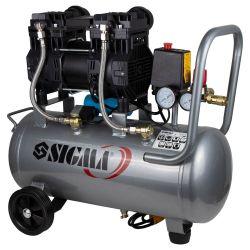 Компрессор двухцилиндровый безмасляный 1.5кВт 209л/мин 8бар 30л SIGMA (7042541) Sigma 7042541