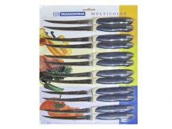 Ніж кухоний Multicolor 5124 (12шт. в уп) пласт. ручка ТМ TRAMONTINA