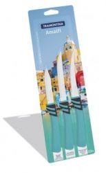 Нож TRAMONTINA AMALFI набор ножей 3пр голубой инд.блистер (23499/174)