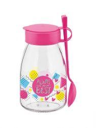 Банка RENGA MAYA PINK д/йогурта с ложкой 0.5 л стекло (131094 P)