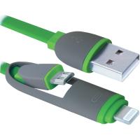 кабель DEFENDER USB10-03BP USB(AM)-MicroUSB+Lightning зеленый 1м