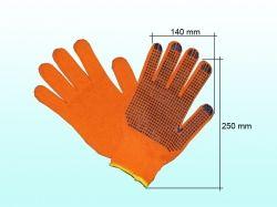 Перчатки робочі 526 жовтогарячі з синьою ПВХ крапкою ТМ DOLONI