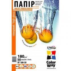 Бумага Colorway глянцевая 180г/м, 10x15, 50 л, ПГ180-50 #25975