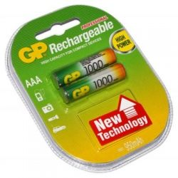 Аккумулятор AAA, 1000 mAh, GP, 2 шт, 1.2V, Blister (GP100AAAHC-2PL2)