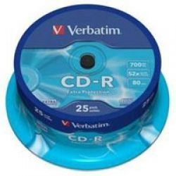 Диск CD-R 25 Verbatim, 700Mb, 52x, Extra Protection, Cake Box (43432)