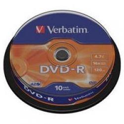 Диск DVD-R 10 Cake VERBATIM 4.7GB, 16X (43523)