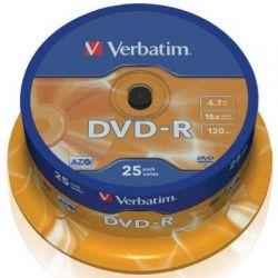 Диск DVD-R 25 Cake VERBATIM 4.7GB, 16X (43522)