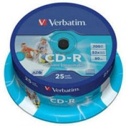 Диск CD-R 25 Verbatim, 700Mb, 52x, Printable, Cake Box (43439)