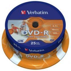 Диск DVD-R 25 Cake VERBATIM 4.7GB, 16X Printable (43538)