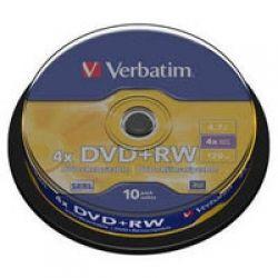 Диск DVD+RW 10 Verbatim 4.7GB 4x Silver 43488