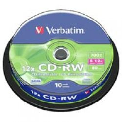 Диск CD-RW 10 Verbatim, 700MB, 12x, Cake Box (43480)