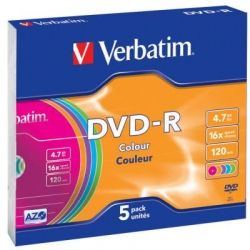Диск DVD-R Verbatim 4.7Gb 16X Slim case 5 шт Color (43557)