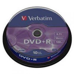 Диск DVD+R 10 VERBATIM 4.7GB, 16X Silver