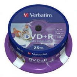 Диск DVD Verbatim 4.7Gb 16X CakeBox 25шт Silver (43500)