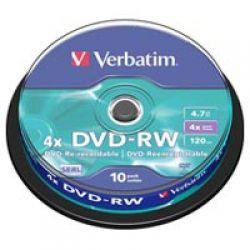 Диск DVD-RW 10 Cake Verbatim 4.7GB, 4x (43552)