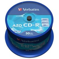 Диск CD-R 50 Verbatim, 700Mb, 52x, Crystal, Cake Box (43343)
