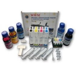 СНПЧ WWM Epson Stylus TX200/209/210/219/400/409/410/419, Office TX300F, C79, CX3900/5900/7300/8300/9300F, с АО чипами, 4x100 г чернил (IS.0238)