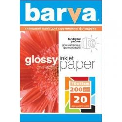 Бумага BARVA Глянцевая (IP-C200-026) 10x15 20л