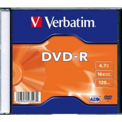 Диск DVD Verbatim 4.7Gb 16X SlimBox 1шт MatteSilv AZO (43547-1disk)
