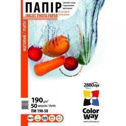 Бумага ColorWay матовая, 190 г/м2, A6 (10x15), 50 л (PM1900504R)
