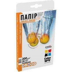 Бумага ColorWay глянцевая, 200 г/м2, A6 (10х15), 20 л, картонная упаковка (PG2000204R)