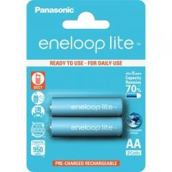 Аккумулятор AA, 950 mAh, Panasonic Eneloop Lite, 2 шт, 1.2V, Blister, ресурс - 3000 циклов заряда! (BK-3LCCE/2BE)