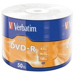Диск DVD-R 50 Bulk VERBATIM 4.7GB, 16X Extra Protection WRAP (43791)