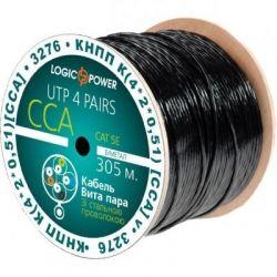Кабель сетевой UTP 305м cat.5e КНПП(4*2*0,51)[СCA] сталь. проволока 1*1,4мм LogicPower (3276)