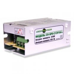 Импульсный блок питания Green Vision GV-SPS-C 12V1A-L с клемами, под видеонаблюдения