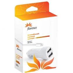 Зарядний пристрій Florence 2USB + cable iPhone 6/6 Plus white, 2100mA CC21-IPH6