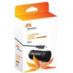 Зарядний пристрій Florence USB + cable microUSB black, 1200mA CC12-MU