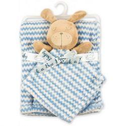 Одеяло Luvena Fortuna флисовое с игрушкой-салфеткой, голубое (G8758)