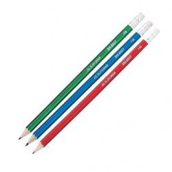 Карандаш графитный Buromax НВ, with eraser, Metallic, assorted colors, tube (BM.8507)