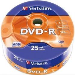 Диск DVD-R 25 Verbatim, 4.7Gb, 16x, Wrap (43808)