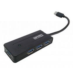 Концентратор USB 3.0 STlab U-930 HUB 4 портов, с БП 2А/5В пластик черный
