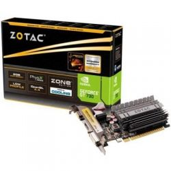 Видеокарта GeForce GT730, Zotac, Zone Edition, 2Gb DDR3, 64-bit, VGA/DVI/HDMI, 902/1600MHz, Low Profile, Silent (ZT-71113-20L)