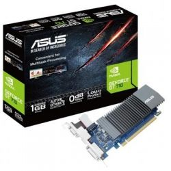 Видеокарта GeForce GT710, Asus, 1Gb DDR5, 32-bit, VGA/DVI/HDMI, 954/5012MHz, Silent, Low Profile (GT710-SL-1GD5)