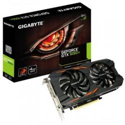 Видеокарта GeForce GTX1050Ti OC, Gigabyte, 4Gb DDR5, 128-bit, DVI/3xHDMI/DP, 1430/7000 MHz, 6-pin (GV-N105TWF2-4GD)