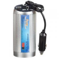 Адаптер автомобильный 12V/220V PORTO 150W, USB, ионизатор, Silver (MNY-150)