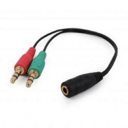 Переходник Cablexpert CCA-418 4-х контактной 3.5 мм вилки на две 3.5 мм розетки (стерео аудио + моно микрофон) - Картинка 3