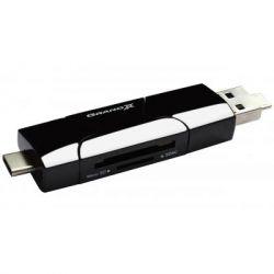 Card Reader Grand-X USB 2 в 1 SD/SDHC/SDXC/MicroSD/MicroSDHC/MicroSDXC ; OTG TypeC + USB3.0 (CR-575)