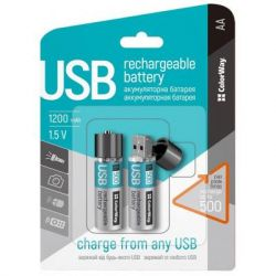 Аккумулятор AA-USB, 1200 mAh, ColorWay, 2 шт, 1.5V (CW-UBAA-02) - Картинка 2