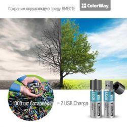 Аккумулятор AA-USB, 1200 mAh, ColorWay, 2 шт, 1.5V (CW-UBAA-02) - Картинка 4
