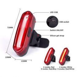 Фонарь велосипедный Velotrade габаритный задний (стекло) BC-TL5434 красный LED, USB (LTSS-020)