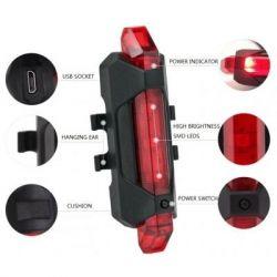 Фонарь велосипедный Velotrade габаритный задний BC-TL5411 красный 5 светодиодов USB (LTSS-018)