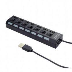 Концентратор USB 2.0 Gembird UHB-U2P7-03 USB 2.0, 7 порта, выключатель на каждый порт, блок питания, 5 В - 2 A