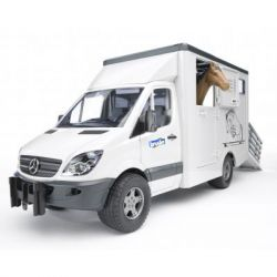Спецтехника Bruder МВ Sprinter транспортер для животных + лошадка М1:16 (02533)