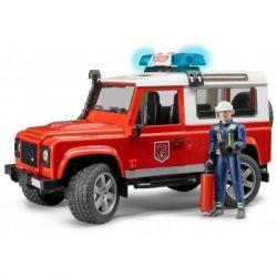 Спецтехника Bruder Джип пожарный Land Rover Defender + фигурка пожарного М1:16 (02596)
