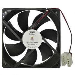 Вентилятор 120 mm 12025S Black Cooling Baby 120x120x25мм SB 12В 0.25A 25дБ 1200 об/мин 4pin MOLEX; черный