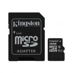 Карта памяти microSDHC, 16Gb, Class10 UHS-1 А1, Kingston Canvas Select Plus R-100MB/s, SD адаптер (SDCS2/16GB)